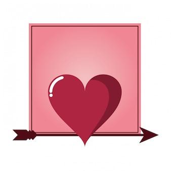 Cadre romantique avec coeur