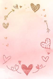 Cadre romantique de la saint-valentin à l'aquarelle