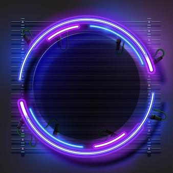 Cadre rond abstrait néon brillant. panneau lumineux électrique vintage.