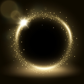Cadre rond argent brillant avec des éclats de lumière