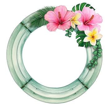 Cadre rond en bois aquarelle avec des fleurs tropicales
