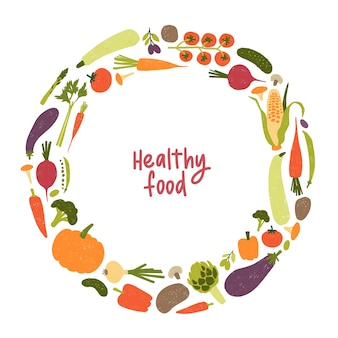 Cadre rond ou bordure composée de divers légumes ou cultures récoltées isolated on white