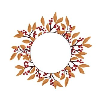 Cadre rond avec des branches d'automne