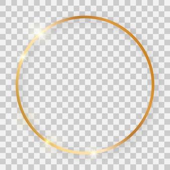 Cadre rond brillant doré avec effets lumineux et ombres sur fond transparent. illustration vectorielle