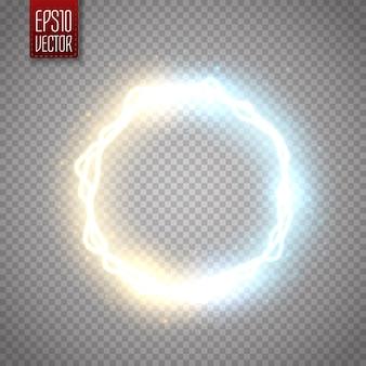 Cadre rond brillant avec de nombreuses particules de brillance et effet d'électricité