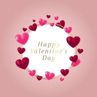 Cadre rond avec coeurs charmant pour la saint valentin