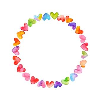 Cadre rond coloré avec coeurs. aquarelle