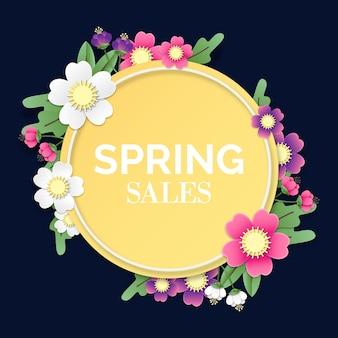 Cadre rond coloré de vente de printemps dans le style de papier