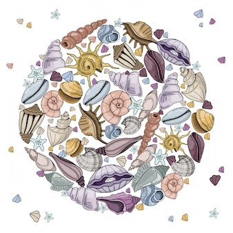 Cadre rond de coquillages et étoiles de mer