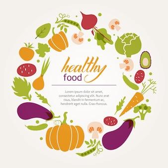 Cadre rond de légumes frais juteux. Régime alimentaire sain, végétarien et végétalien.