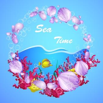Cadre rond décoratif composé de coquillages, de poissons tropicaux et de coraux.