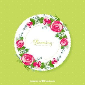 Cadre rond avec décoration florale