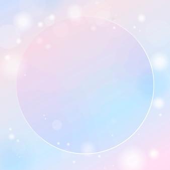 Cadre rond sur dégradé rose et bleu avec fond clair bokeh