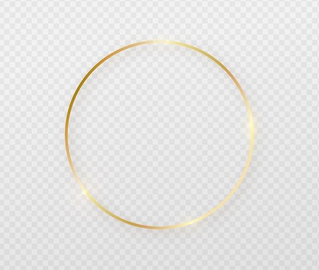 Cadre rond doré avec effets de lumière.