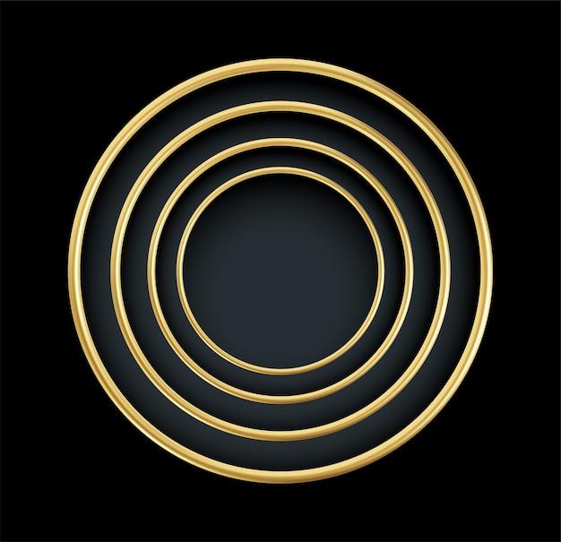 Cadre rond doré réaliste isolé sur fond noir. élément décoratif de luxe en or.