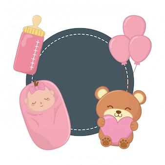 Cadre rond et éléments bébé