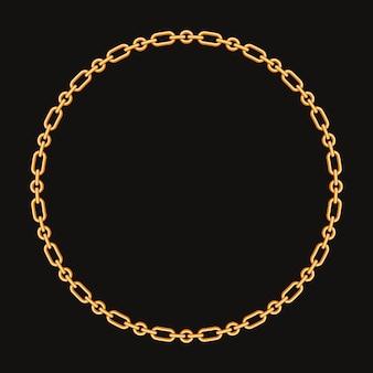 Cadre rond fabriqué avec une chaîne en or. sur le noir