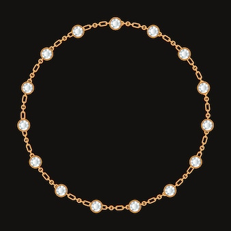 Cadre rond fait avec chaîne d'or