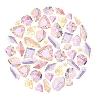 Cadre rond, fait de cristaux, gemmes