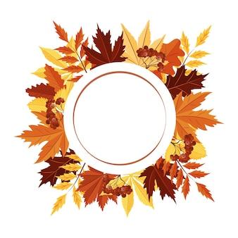 Un cadre rond fait de feuilles d'automne un espace vide pour le texte carte postale un élément de design