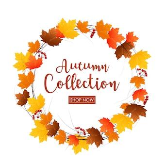 Cadre rond de feuilles d'automne