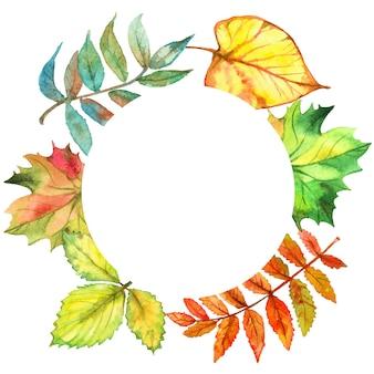 Cadre rond avec des feuilles d'automne