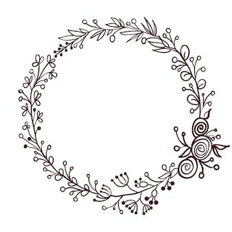Cadre rond de feuilles isolé sur blanc