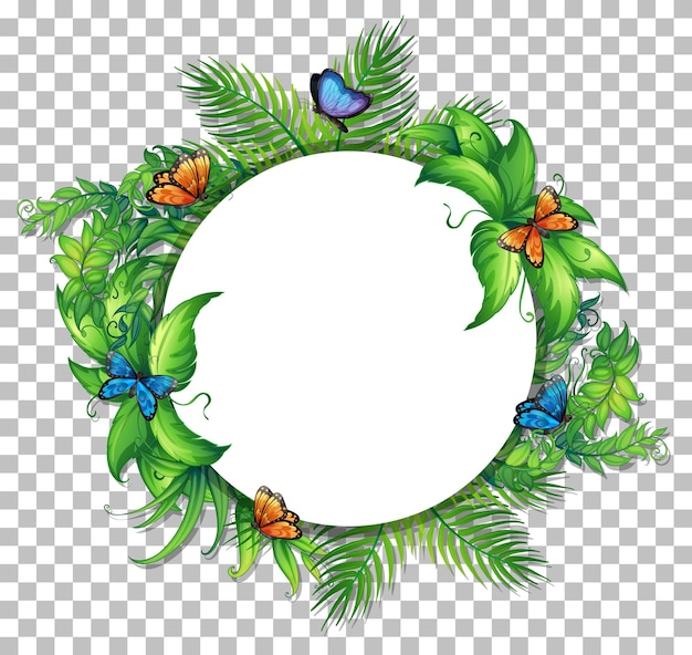 Cadre rond avec des feuilles tropicales et des papillons sur fond transparent