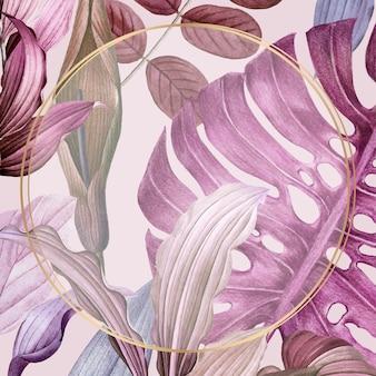 Cadre rond feuillu violet