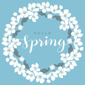 Cadre rond fleur de cerisier avec lettrage bonjour printemps