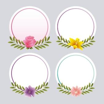 Cadre rond avec des fleurs décoratives romantique