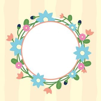 Cadre rond de fleurs floral avec cercle blanc pour insérer une illustration de texte fleurs bleu