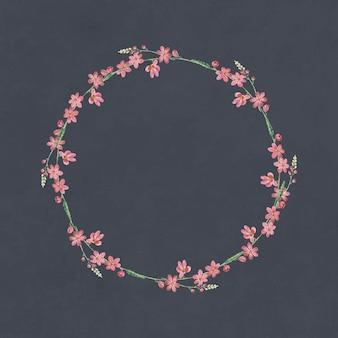 Cadre rond de fleurs mélangées