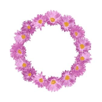 Cadre rond avec des fleurs roses