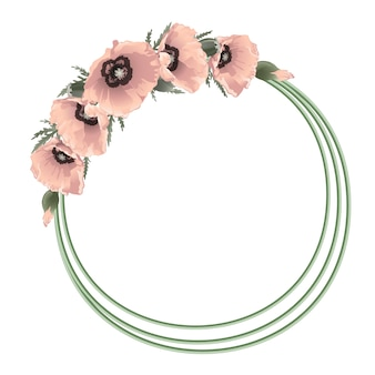 Cadre rond floral coquelicots roses,