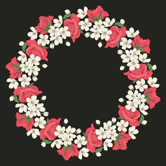 Cadre rond floral sur fond noir pour votre texte