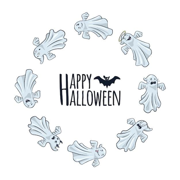 Cadre rond joyeux halloween avec des fantômes mignons. style de bande dessinée. conception de vacances d'automne pour bannières, affiches, invitations. modèle de carte de fantômes drôles en forme de cercle. vecteur premium