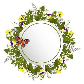 Cadre rond avec des muguets et des pensées. cadre rond avec fleurs et papillon.