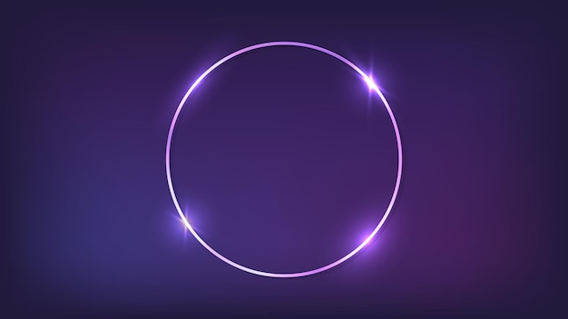 Cadre rond néon avec effets brillants sur fond sombre. toile de fond techno rougeoyante vide. illustration vectorielle.