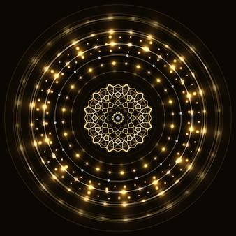 Cadre rond en or abstrait avec mandala