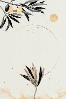 Cadre rond en or avec branches d'olivier