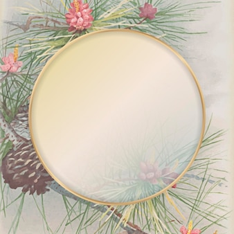 Cadre rond en or sur fond à motifs de cône de pin et de conifère
