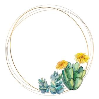 Cadre rond en or avec plantes succulentes et cactus