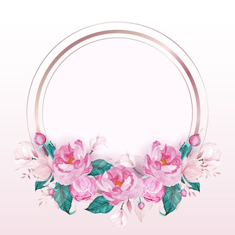 Cadre rond en or rose décoré de fleurs roses dans un style aquarelle pour carte d'invitation de mariage