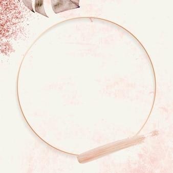 Cadre rond en or rose avec vecteur de fond de modèle de feuille de monstera