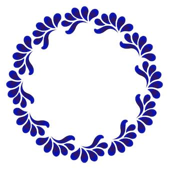 Cadre rond ornement bleu