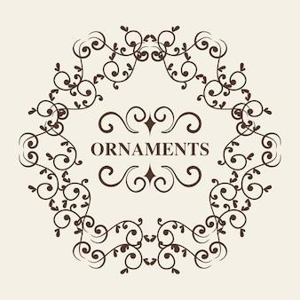 Cadre rond ornemental et ornements signent sur fond blanc. illustration vectorielle