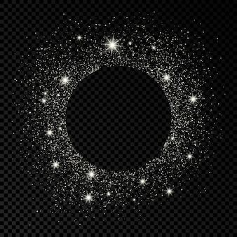 Cadre rond avec des paillettes argentées sur fond transparent foncé. arrière-plan vide. illustration vectorielle.