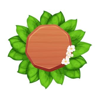 Cadre rond de panneau d'affichage de planche de bois avec la décoration exotique de jungle de feuilles et de fleurs dans la bande dessinée