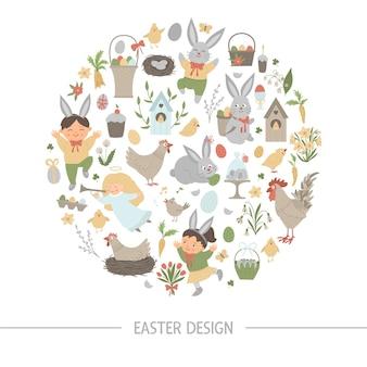 Cadre rond de pâques avec lapin, oeufs et enfants heureux isolés sur fond blanc. bannière ou invitation sur le thème de la fête chrétienne encadrée en cercle. modèle de carte de printemps drôle mignon.